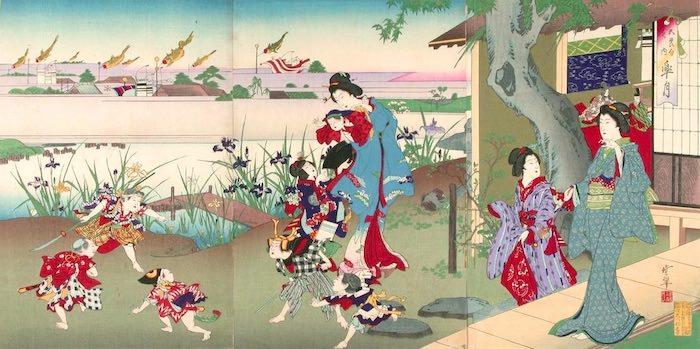 『東京名所 新吉原日本堤之図』(河鍋暁斎 画)