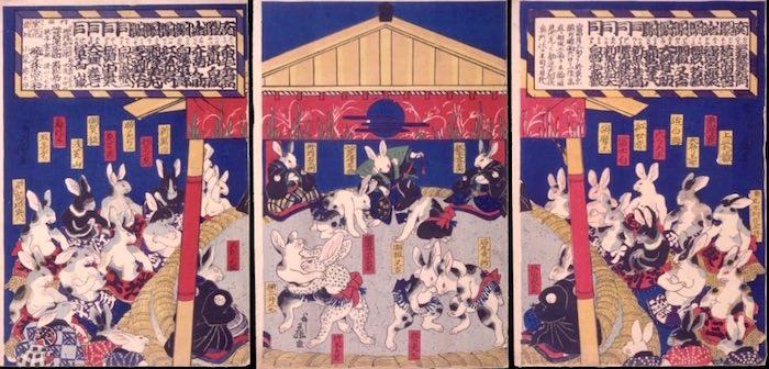 『兎絵 勧進大相撲之図』(歌川芳藤 画)