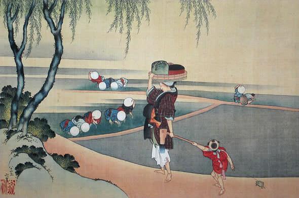 田植図(葛飾北斎の画)