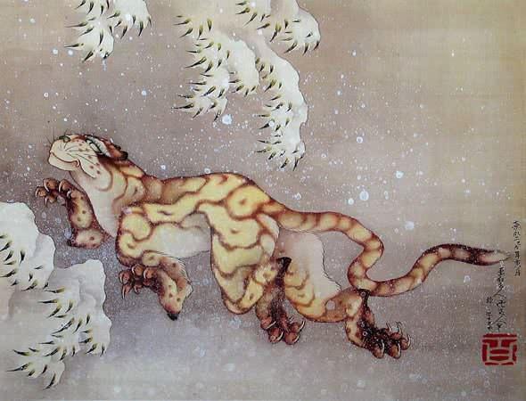 雪中虎図(葛飾北斎の画)