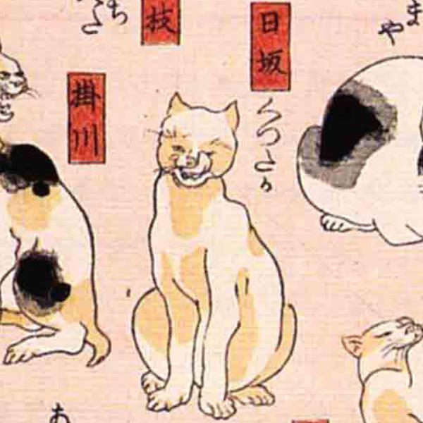 日坂/其のまま地口 猫飼好五十三疋(歌川国芳 画)の拡大画像
